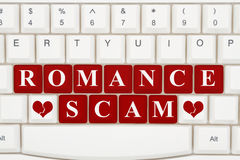 Dating scams on the internet. A close-up of a keyboard with red highlighted text Romance Scam stock photos