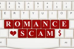 Dating scams on the internet. A close-up of a keyboard with red highlighted text Romance Scam Stock Photo