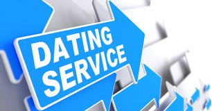 Dating Service on Blue Arrow Sign. Royalty Free Stock Image