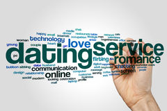 Dating service word cloud concept on grey background Stock Photos