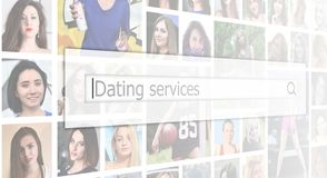 Dating services. The text is displayed in the search box on the. Background of a collage of many square female portraits. The concept of service for dating stock images