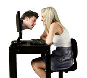 Dating site. Perfect picture for dating site. Or for explain to keep contact by networks or computers Royalty Free Stock Image