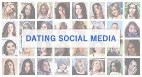 Dating social media. The title text is depicted on the background of a collage of many square female portraits. The concept of se. Rvice for dating royalty free stock image