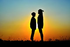 Dating on the sunset. Royalty Free Stock Image
