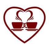 Dating symbol with two coffee cups. Dating symbol with two coffee cups and heart shape, vector icon Royalty Free Stock Image