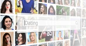 Dating. The text is displayed in the search box on the background of a collage of many square female portraits. The concept of se royalty free stock images