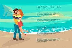Happy people characters is kissing at the beach royalty free illustration