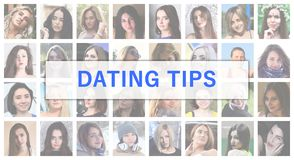 Dating tips. The title text is depicted on the background of a c. Ollage of many square female portraits. The concept of service for dating stock photos