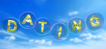 The dating word in bubble. The dating word in soap bubble on blue sky background,3d rendered Royalty Free Stock Image
