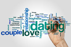 Dating word cloud concept on grey background Stock Photos