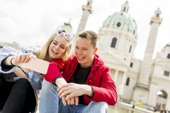 Dating young couple happy in love taking selfie self-portrait ph. Oto in Vienna, Austria Stock Image