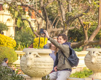 Dating young couple of tourist taking selfie in Nepal Royalty Free Stock Image