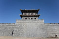Datong city wall. Scene of the retro city wall and guard tower of Datong. Shanxi province, China Stock Photography