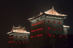 Datong stadsvägg på natten Arkivbild