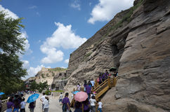 Datong Yungang grottor Arkivbilder