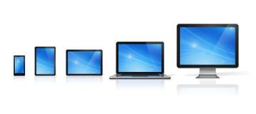 Dator, bärbar dator, mobiltelefon och digital minnestavlaPC Royaltyfria Foton