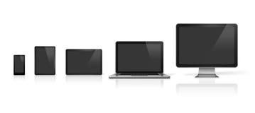 Dator, bärbar dator, mobiltelefon och digital minnestavlaPC Fotografering för Bildbyråer