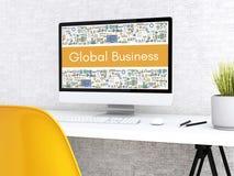 dator 3d med GLOBAL AFFÄR för ord stock illustrationer