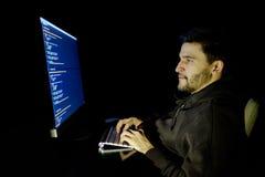 Dator för programvarubärare på den mörka inrikesdepartementet Royaltyfri Bild
