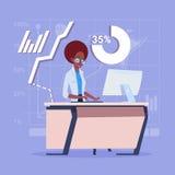 Dator för skrivbord för sammanträde för afrikansk amerikanaffärskvinna funktionsduglig över finansiella diagram royaltyfri illustrationer