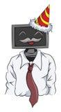 Dator-hövdad anställd som bär en konisk hatt Royaltyfri Foto