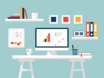 Dator i vitbakgrund Plan designvektorillustration av den moderna inrikesdepartementetinre med det märkes- skrivbordet och datoren royaltyfri illustrationer