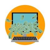 Dator med pengar Plan design vektor Fotografering för Bildbyråer