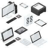 Dator- och kontorsapparater specificerade den isometriska symbolsuppsättningen stock illustrationer
