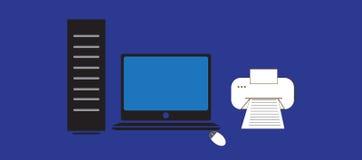 Dator och skrivare vektor illustrationer