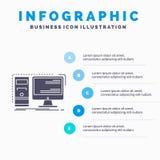 Dator, skrivbord, maskinvara, arbetsstation, mall f?r system Infographics f?r Website och presentation Gr? symbol f?r sk?ra med b stock illustrationer