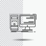 Dator skrivbord, maskinvara, arbetsstation, systemlinje symbol på genomskinlig bakgrund Svart symbolsvektorillustration vektor illustrationer