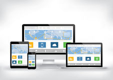 Dator smart telefon, minnestavla, mall för bärbar datorskärmwebsite stock illustrationer