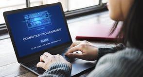 Dator som programmerar data Digital som kodifierar begrepp fotografering för bildbyråer