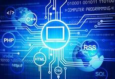 Dator som programmerar i global affär royaltyfri illustrationer