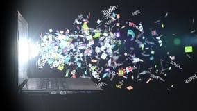 Dator som smittas med en virus det isolerade begreppet 3d framför säkerhet vit Royaltyfria Foton