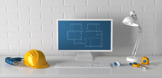 Dator, tabelllampa, hjälm och konstruktionshjälpmedel på en bakgrund Royaltyfri Foto