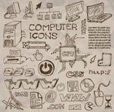 dator tecknade inställda handsymboler Royaltyfri Bild