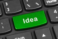 Datoranteckningsboktangentbord med idétangent Arkivfoto