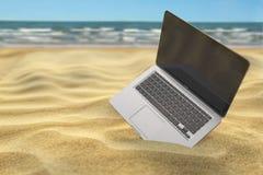 Datorbärbar dator i sanden av havs- eller havstranden frilans vektor illustrationer