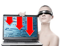 datorbärbar datorkvinna Royaltyfri Fotografi