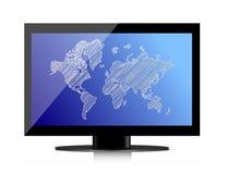 Datorbildskärm med världskartan på skärmen Fotografering för Bildbyråer