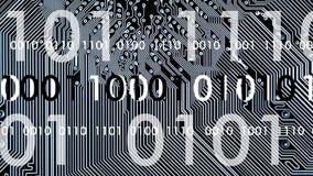 Datorbräde i arbete med binär kod royaltyfri illustrationer