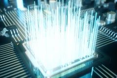 datorchip för illustration 3D, en processor på ett bräde för utskrivaven strömkrets Begreppet av dataöverföringen till molnet Fotografering för Bildbyråer