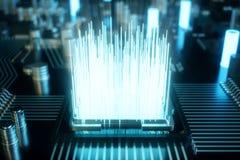 datorchip för illustration 3D, en processor på ett bräde för utskrivaven strömkrets Begreppet av dataöverföringen till molnet Royaltyfria Foton