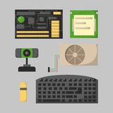 Datordelar knyter kontakt olikt elektronikapparater för del- tillbehör och för processordrev för skrivbords- PC minne för maskinv royaltyfri illustrationer