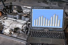 Datordiagnostik av motorn i bilen Royaltyfri Bild