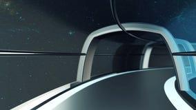 datoren 3D frambragte turen i tunnelen av rymdskeppet, illustrationen 3D royaltyfri illustrationer