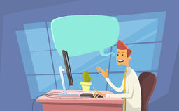 Datoren för arbetsplatsen för kontoret för affärsmannen överför den skrivbords- kommunikation för pratstund för meddelandeinterne stock illustrationer