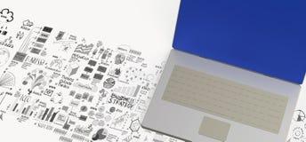 datoren för bärbara datorn 3d och handen drog affären diagram Royaltyfri Bild