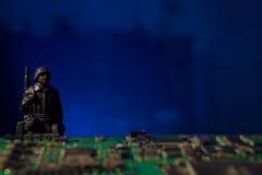 Datoren för Cyberterrorismbegreppet bombarderar Arkivbilder